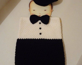 Crocheted Tuxedo Cocoon with Donegal Hat