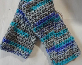 Crocheted Fingerless Texting Gloves - Gray/Turquoise/Purple
