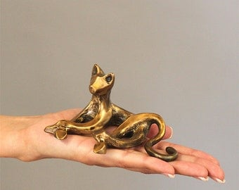 """Bronze Cat Sculpture """"Cat-itude"""""""