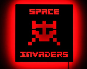 Space Invaders Wall Light - Illuminated Gamer Decor and Signs