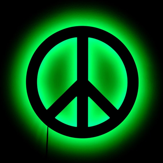 Peace Sign Lamp Wall Hanging Peace Symbol Night by HaloLights