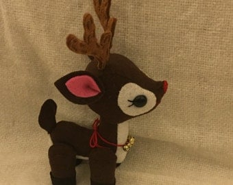 Handmade Patchlins Reindeer Rudolph Stuffed Animal