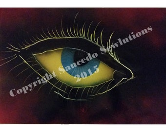"On Sale! Eye of the Universe 19"" x 13"" Spray Paint Art"