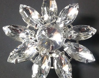 Small Flower Brooch with clear stones and silver finish