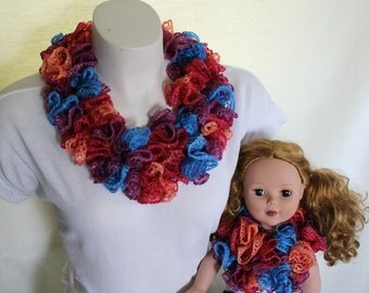 SALE - Mother and Daughter, Girl and Doll, Mommy and Me, Mini Sashay, Ruffle Scarf, gifts under 15 dollars, gifts for her, Christmas gift