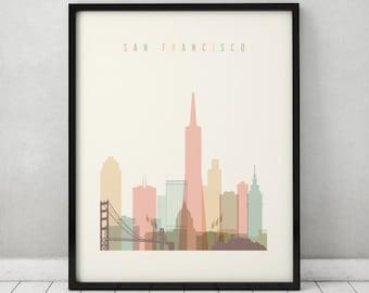 San Francisco art, Poster, Print, Wall art, San Francisco skyline, City poster, Typography art, Gift, Home Decor, ArtPrintsVicky