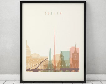 Dublin print, Poster, Wall art, Ireland cityscape, Dublin skyline, City poster, Typography art, Home Decor Digital Print, ART PRINTS VICKY.