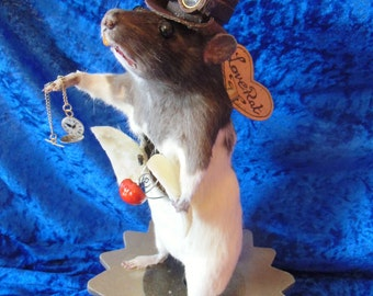 steampunk taxidermy love rat
