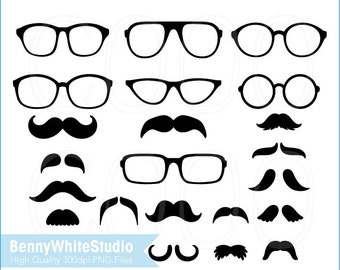 Party Moustaches and Eyeglasses Clip Art, For Personal and Small Commercial Use. B-0008.