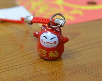 Maneki-neko (lucky cat) charm - Red