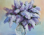 Acrylic Painting,Canvas Art,Original Fine Art,Wall Art,40 x 40 cm,Still Life Painting,FREE SHIPPING,Lilac in a Glass Vase,Flowers Art,Purple