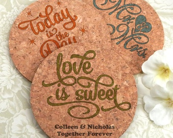 Love Letters Wedding Favor Cork Coasters, Round Cork Coasters - Set of 12