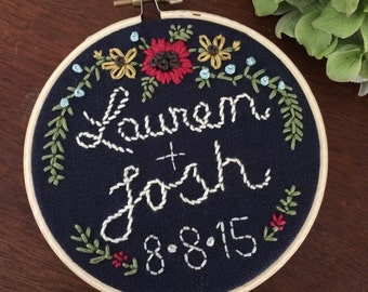 "4"" Hoop Art Hand Embroidered Wedding Memento/Gift"