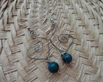 Abstract bead and wire earrings