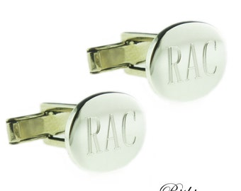 925 Sterling Silver Monogrammed Engraved Oval Cufflinks