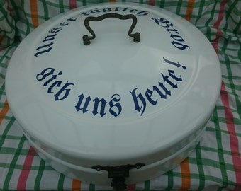 Vintage German Enamel Round Bread Box
