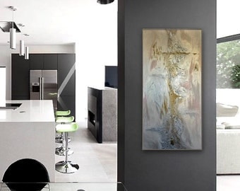 Abstract Painting ,Original Modern Textured Metallic Contemporary Abstract Painting By Alicja Pochodzilo Ready To Hang 36x18