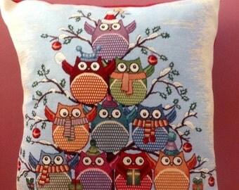 Christmas owl cushion