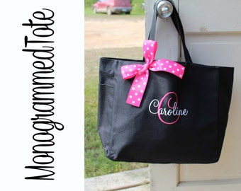 7 Monogrammed Totes, Bridesmaid Gift, Tote Bags, Personalized Bridesmaid Tote, Wedding Party Gift, Name Tote, Custom Tote