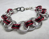Luka - Unisex Chainmaille Bracelet - Black Red Silver - Mens Bracelet Chainmail Jewelry Rocker Jewelry Rocker Chic Industrial Chic Cyberpunk