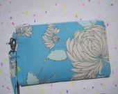 Wedding Clutch 2 pockets medium,sky blue,cotton,flowers,wristlet - Chrysanthemums light blue