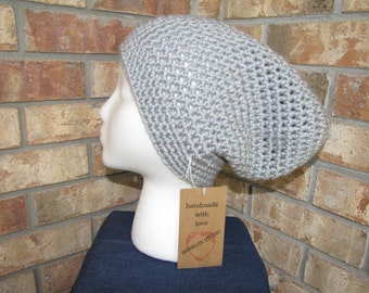 Slouchy Beanie Hat - Silver Sparkle