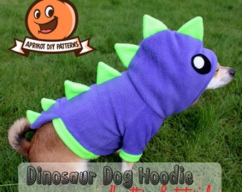 Dog Dinosaur Hoodie Costume XS - MED Pdf Pattern and full tutorial