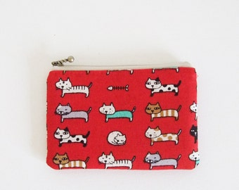 mini zipper pouch  - cats(red)
