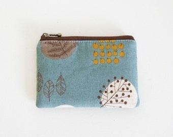 mini zipper pouch  - Botanical blue grey