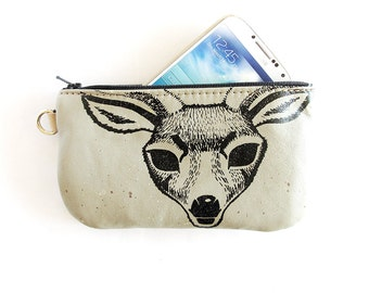 Diamond Spirit Deer Phone Case Pencil Case or Whatever Case in Upcycled Leather