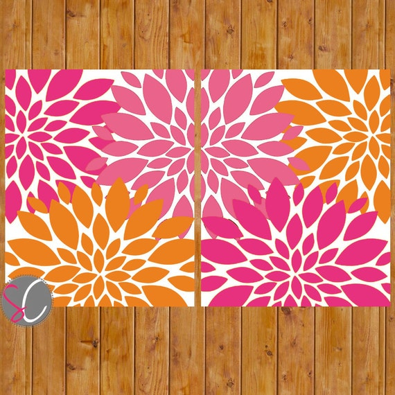 Instant Download Pink Orange Floral Wall Art Flower Burst