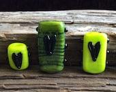 Lampwork Heart Beads in Greens