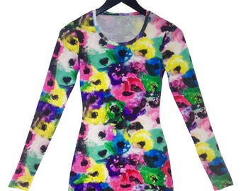 Poppies Fitted Long Sleeve Tshirt Dress