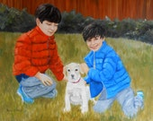 "Only Large Art Portrait Painting, Oils on Canvas, 30"" x 24"" Children with Pet"