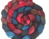 Handpainted Superwash BFL Nylon 80/20 Sock Roving - 4 oz. BLUE RASPBERRY - Spinning Fiber