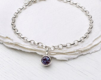 Alexandrite Charm Bracelet, June Birthstone, Sterling Silver, Handmade in the UK