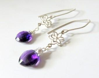 Purple Amethyst Earrings. Wire Wrapped Briolettes, Amethyst Quartz, Sterling Silver. Cushion Cut Gemstone,  February Birthstone Gift