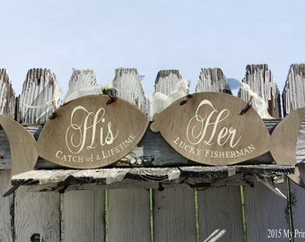 Mr and Mrs Signs | Wedding Chair Signs | Wedding Signs | Beach Wedding | Rustic Wedding Decor | Her Lucky Fisherman |His Catch of a Lifetime