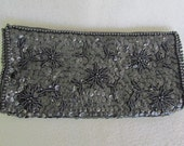 Sequined & Beaded Black Evening Clutch Purse