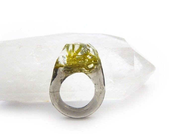 Terrarium + Silver Leaf Resin Ring • Size 5.5