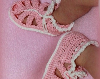 Baby Booties - Sandal Bootie - Baby Rose with White Trim
