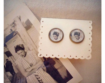 Helen vintage photo post earrings, gift for her, vintage photograph