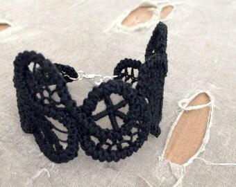 Romanian Point Lace Cuff Bracelet - Freeform