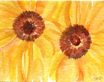 ACEO Sunflowers watercolor Painting, watercolors paintings original, Art Card original, Sunflower painting miniature painting