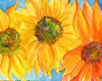 Sunflowers watercolor, watercolor flowers, flower paintings original, sunflower decor, flower art, original watercolor flowers floral