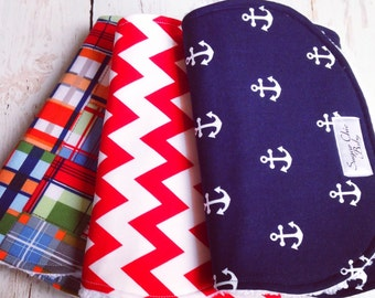 Nautical Burp Cloths - Super Absorbent Triple Layer Chenille - Set of 3 -  Navy Anchors, Red Chevron & Madras Plaid - NAUTICAL TRIO