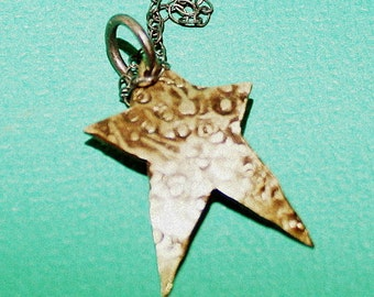 Rustic Star Necklace hammered sterling silver pendant