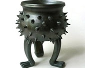 Black Grouchy Planter Pot with Spikes and Sculpted Feet