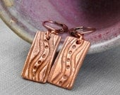 Copper Earrings, Copper Rectangles, Textured Charms, Wavy Dot Earrings, Copper Jewelry, Winding Road,