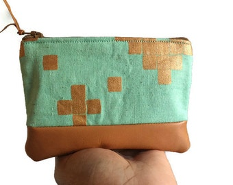 Metallic Copper Mint Leather Pouch, Coin Purse, Zipper Pouch, Small Leather Pouch, Change Purse